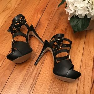 71ccbc1bbdc Guess Shoes - GUESS  ORMANDI Caged Heel Platform Sandal - Size 8